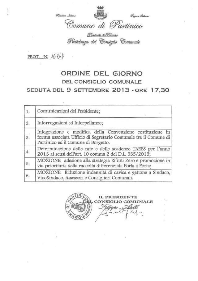 Consiglio Comunale 09.09.2013
