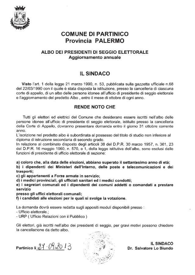 Manifesto Albo Presidenti di Seggio