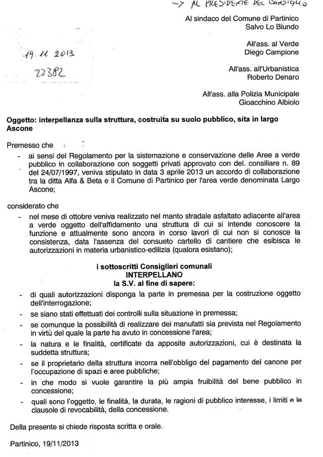 Interrogazione Largo Ascone19112013