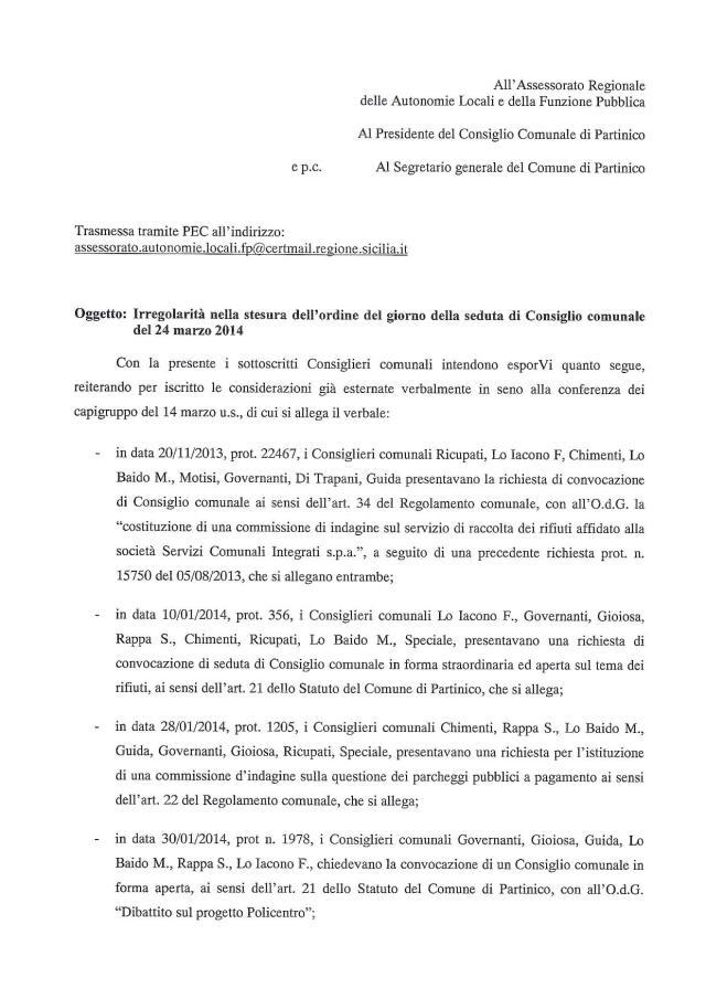 Irregolarità Presidente del consiglio comunale di Partinico1
