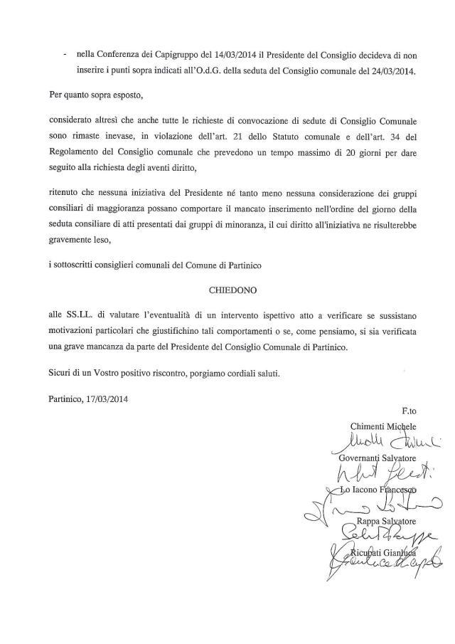 Irregolarità Presidente del consiglio comunale di Partinico2