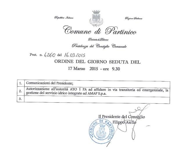 Convocazione Consiglio Comunale 16 marzo 2015